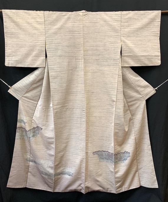 Japanese Silk Kimono Houmongi / TSUMUGI PONGEE/ V… - image 1