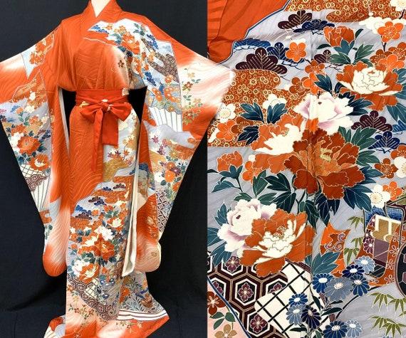 Gorgeous!! Japanese FURISODE Kimono/ Silk Kimono/