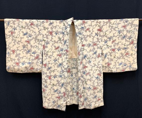 Japanese Silk Kimono Haori / CHIRIMEN/ Silk Haori