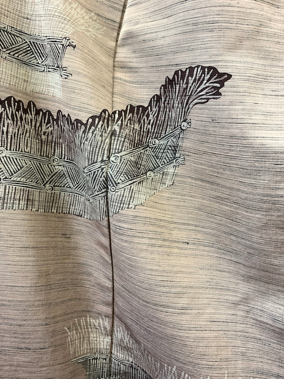 Japanese Silk Kimono Houmongi / TSUMUGI PONGEE/ V… - image 4