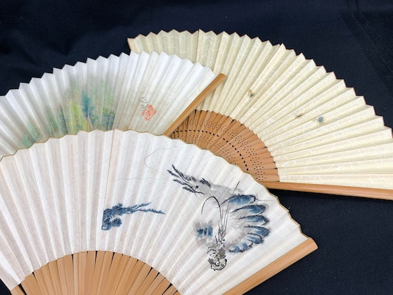 Japanese Vintage SENSU hand fan/ Set of 3 / Tea Ce