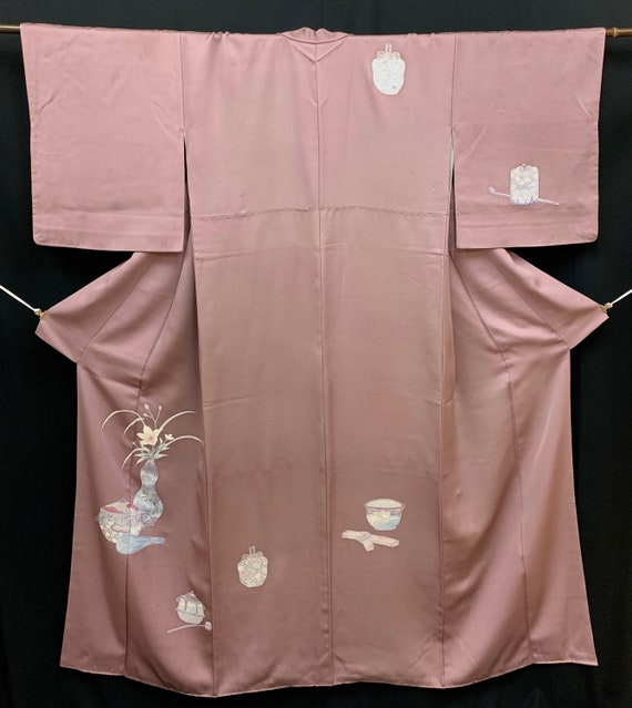 Japanese Kimono Houmongi/ RINZU/ Tea Ceremony/ Vin