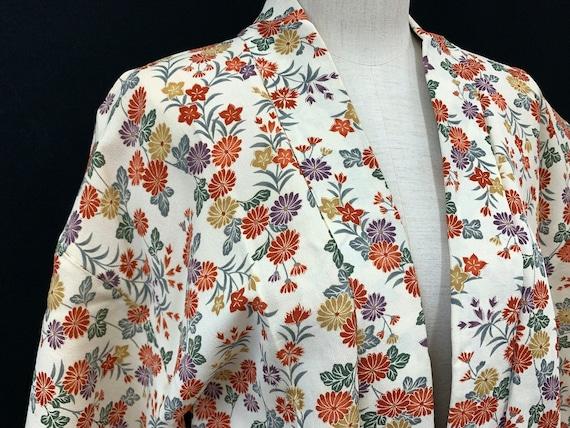 Japanese Silk Kimono Haori Jacket/ CHIRIMEN/ Silk