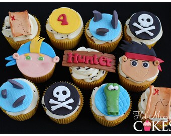 Jake and the Neverland Pirate Fondant Cupcake Toppers