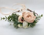 Dog flower collar, dog flower crown, blush succulent flower wreath, flower crown, dog flower wreath, dog flower collar, wedding flower crown