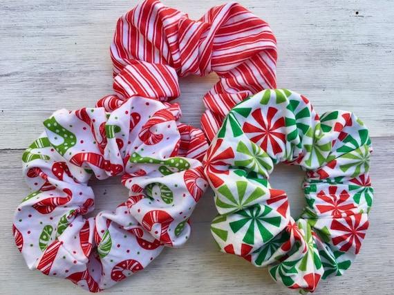 Hair scrunchy Christmas hair scrunchies handmade hair tie  fc857331ae2