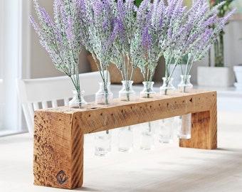 Rustic wedding centerpiece, long Centerpiece, wooden vase, Bud Vase, farmhouse kitchen decor, rustic mantel decor, wedding bridesmaid gift