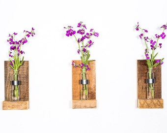 Rustic Wall Sconce. Wood Flower Sconce. Wall Vase. Rustic Wall Decor. Wall Sconce Vase. bud vase Sconce. Wood Vase Sconce. Flower Vase.