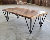 Industrial Modern Coffee Table - Rustic Coffee Table - Reclaimed Wood Steel Side Table - Mid-century Coffee Table - Hairpin Table