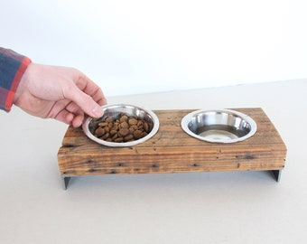 Dog Bowl Stand - Elevated Dog Bowl - Raised Pet Feeder - Rustic Dog Bowl - Industrial Dog Bowl - Raised Cat feeder Stand -  Small Dog Bowl
