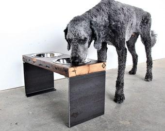 Dog Bowl Stand - Elevated Dog Bowl - Raised Pet Feeder - Industrial Dog Bowl - Rustic Dog Bowl - Raised Dog feeder Stand - Large Dog Bowl