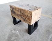Small Bench - Narrow Bench Seat - Beam Bench -Reclaimed Wood Steel Side Table - Rustic Industrial bench. Beam Side Table. Modern wood bench