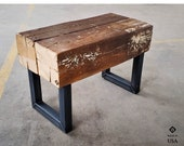 Reclaimed Beam Bench, Farmhouse Rustic Bench, Wooden Porch Bench, Rustic Custom Bench, Industrial Reclaimed Wood Coffee Table, Patio Decor
