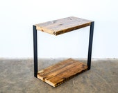 Unique Side Table. Narrow End Table. Industrial Side Table. Reclaimed wood and steel side table end table. Cool End Table.