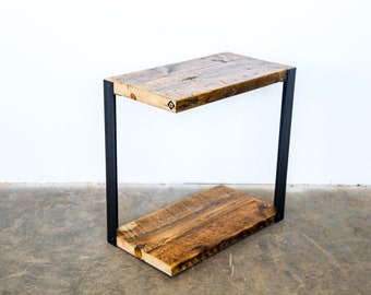 unique side table narrow end table industrial side table reclaimed wood and steel side tableend table cool end table - Unique Side Tables