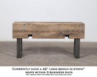 Handmade Reclaimed Wood /& Steel Industrial Bench