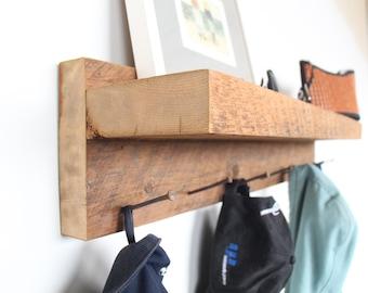 Rustic Coat Rack. Coat Rack Wall Mount. Coat Hanger with Shelf. Entryway Coat Rack with Shelf. Reclaimed wood Towel Rack.