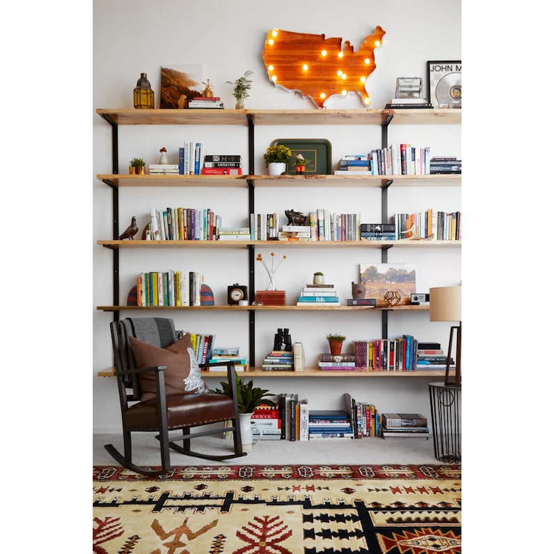 Delicieux Large Wall Mounted Shelving Unit   Modern Wall Shelving   Wood And Steel  Wall Shelving   Custom Wall Shelves   Modern Farmhouse Bookcase