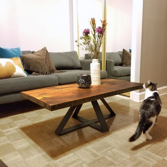 Industrial Modern Reclaimed Coffee Table Wood And Steel Etsy