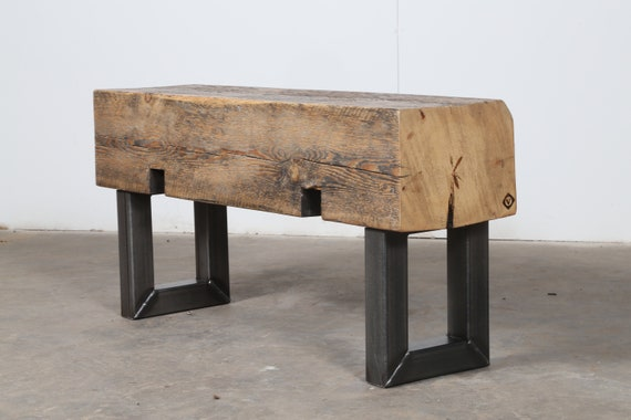 Super Small Bench Narrow Bench Seat Beam Bench Reclaimed Wood Steel Side Table Rustic Industrial Bench Beam Side Table Modern Wood Bench Machost Co Dining Chair Design Ideas Machostcouk