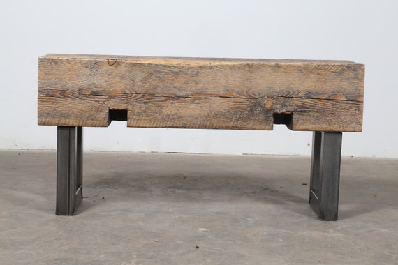Pleasing Small Bench Narrow Bench Seat Beam Bench Reclaimed Wood Steel Side Table Rustic Industrial Bench Beam Side Table Modern Wood Bench Caraccident5 Cool Chair Designs And Ideas Caraccident5Info