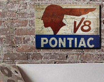 "Vintage Pontiac V8 Sign Car Wall Art on Solid Wood Boards - 17"" x 11"" Automotive Decor Indian Head"