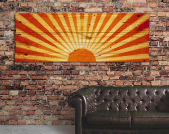 "Extra Large Rustic Wood Sunset Wall Art - 49"" x 18"" Home Decor Wall Hanging - Sunburst"