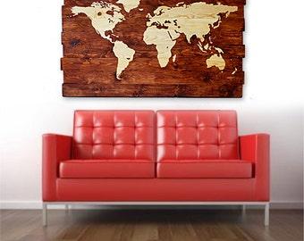 Large World Map House Decor Wood Wall Art Map Wall Art Wood ...
