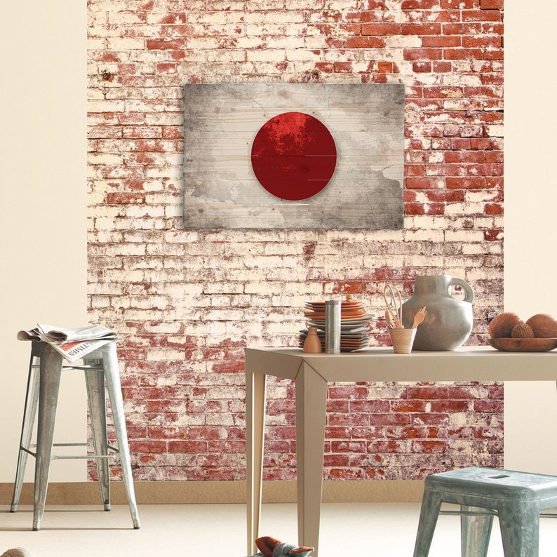 Japan Flag Wooden Wood Wall Art Painted Living Room Decor Ideas Wanderlust Art Farmhouse Wall Art Contemporary Wall Art Design 32 X 21