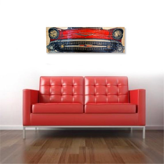 Large \'57 Chevy Bel-Air Car Wall Art on Solid Wood Boards - 32\