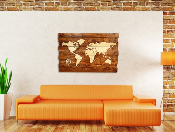 Extra Large World Map with Compass Stained Wall Art on Solid Wood Planks -  50\