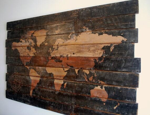 Large World Map House Decor Wood Wall Art Map Wall Art Wood Wall Art  Painted Rustic Wall Art for Living Room Wanderlust Gift 48\