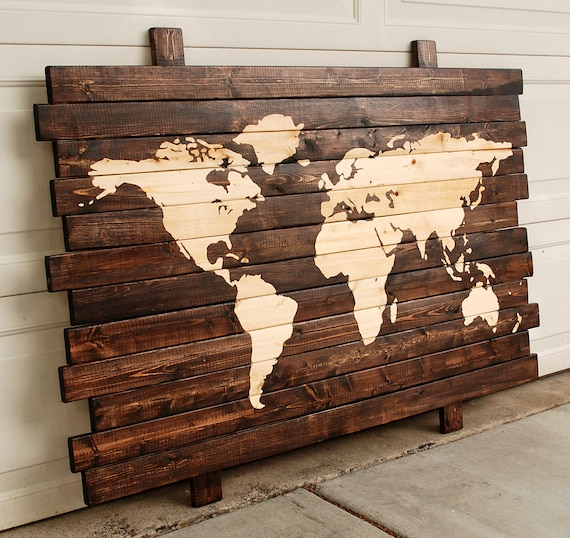 Wooden Plank World Map Hand Stained Wall Hanging 50 x | Etsy