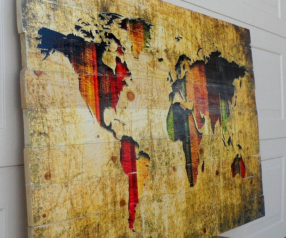 Unique Wood World Map Wall Art on Distressed Solid Wood