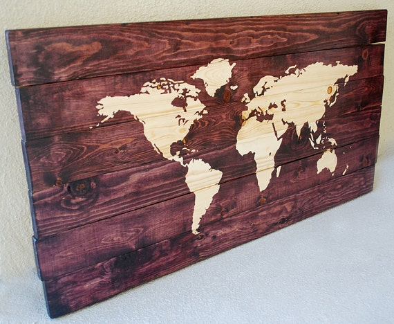 Large World Map Stained Wall Art on Solid Wood Planks | Etsy