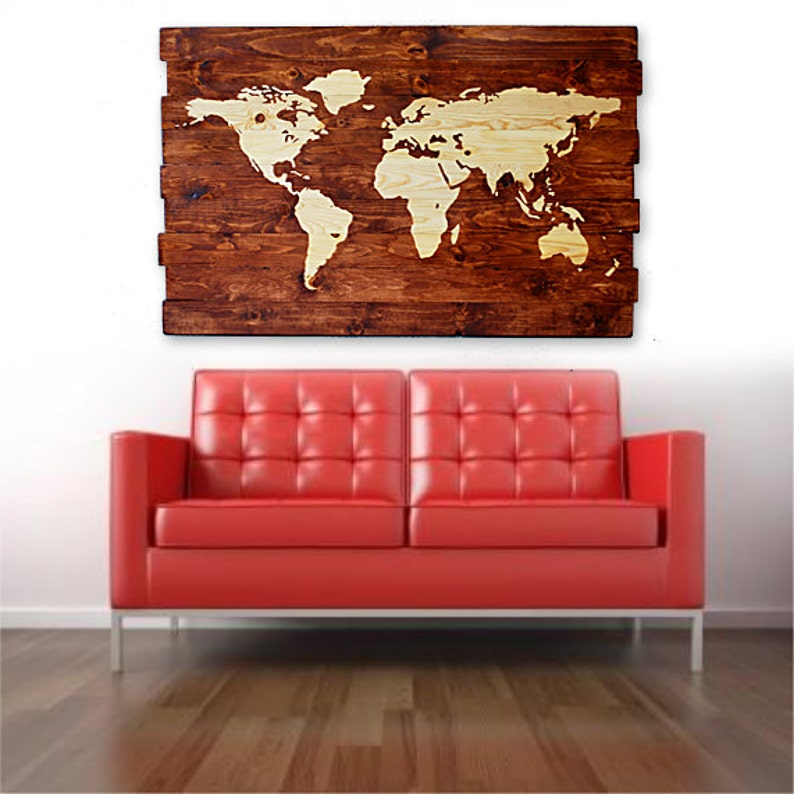 Extra Large World Map Stained Wall Art on Solid Wood Planks | Etsy