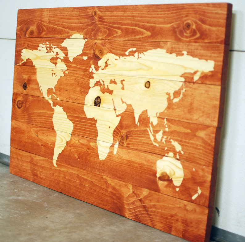 Natural Wood World Map Stained Wall Art on Solid Wood Planks | Etsy