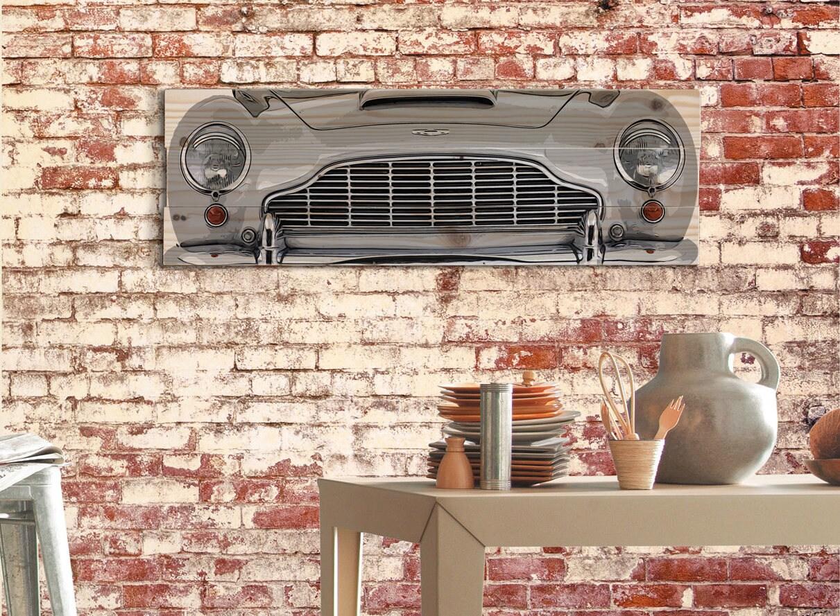 large aston martin db5 sports car wall art on solid wood | etsy
