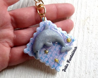 Dolphin keychain Polymer clay and Resin