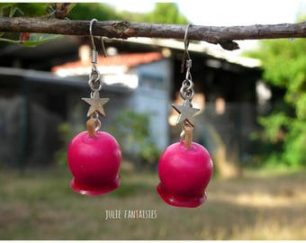 """Of greedy earrings """"Pomme d'Amour"""" Fimo clay"""