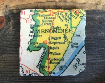 Concord Michigan Map.Jackson Michigan Map Coaster With Cork Backing Albion Concord Etsy