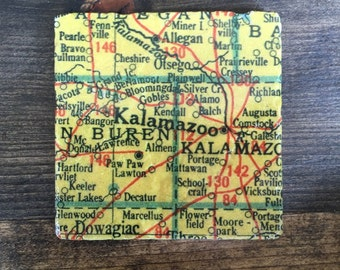 Spring Arbor Michigan Map.Jackson Michigan Map Coaster With Cork Backing Albion Concord Etsy
