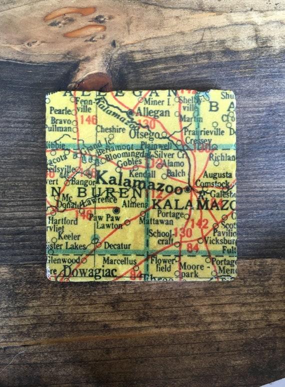 Plainwell Michigan Map.Kalamazoo Michigan Map Coaster With Cork Backing Allegan Etsy