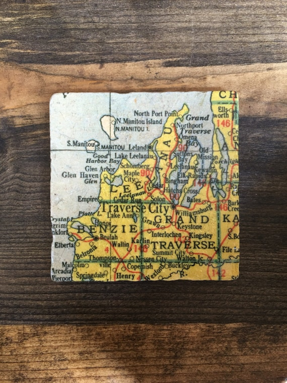 Traverse City Michigan Map Coaster with cork backing Leelanau