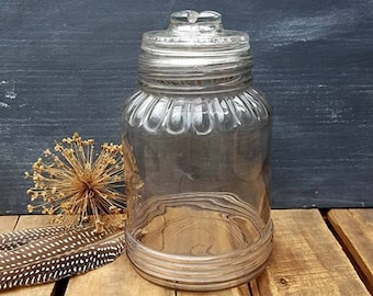 Vintage Sherwood Half Gallon Glass Canning Jar, Slight Purple Color