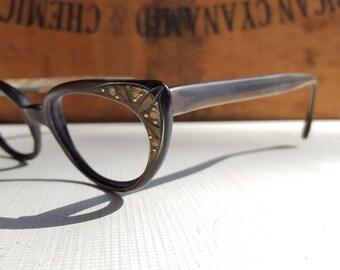 0643f051ff7 1950 s Cat Eye Glass Frames With Rhinestones