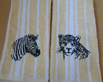 Jaguar and Zebra hand towels