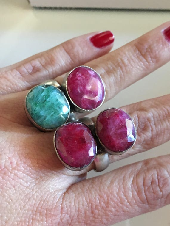 Double oval Ruby silver ring - image 3
