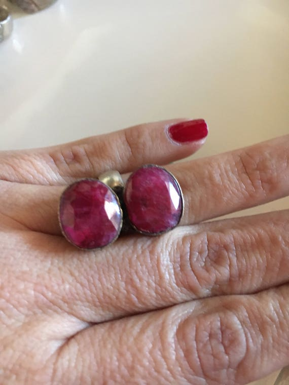Double oval Ruby silver ring - image 1