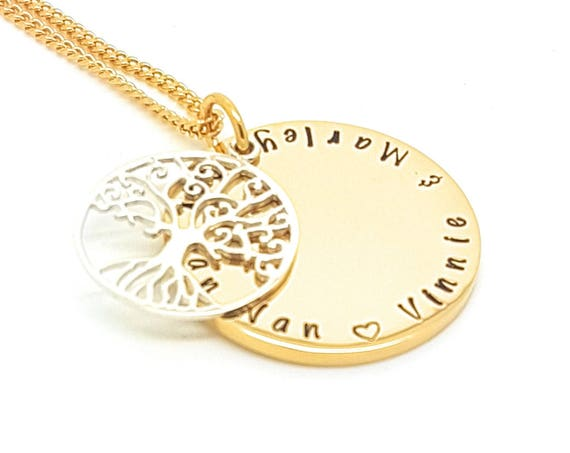 Gold and Silver Family Names Tree of Life Pendant Personalised Jewellery Hand Stamped Name Necklaces Gold Family Name Pendants Giftt Package
